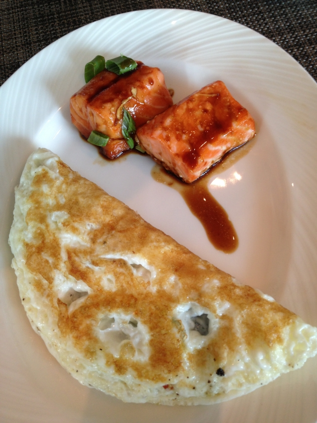 Egg white omelette with a Teriyaki salmon